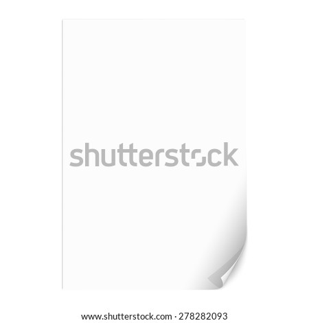 White Empty Paper Sheet with Curled Corner. Vector Illustration - stock vector