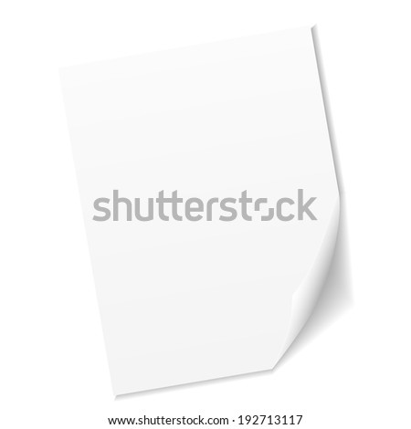 White empty sheet of paper - stock vector