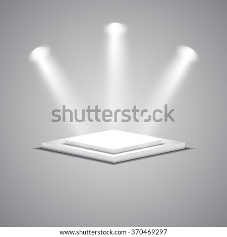 White empty square stage with glowing spotlights. Vector illustration. - stock vector