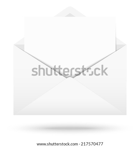 White envelope with white note - stock vector