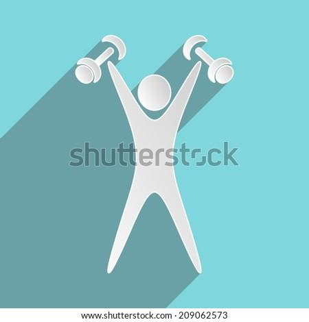 White exercising figure with dumbbells blue flat design - stock vector