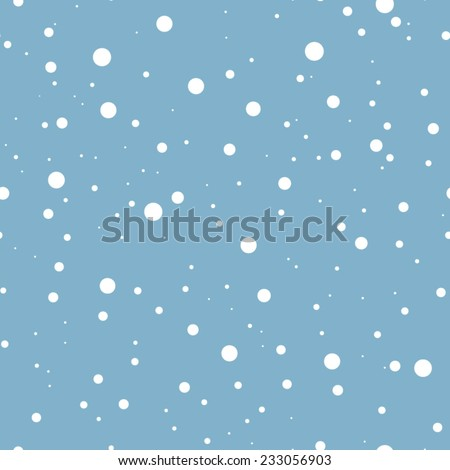 White falling snow on blue. Vector seamless background. - stock vector