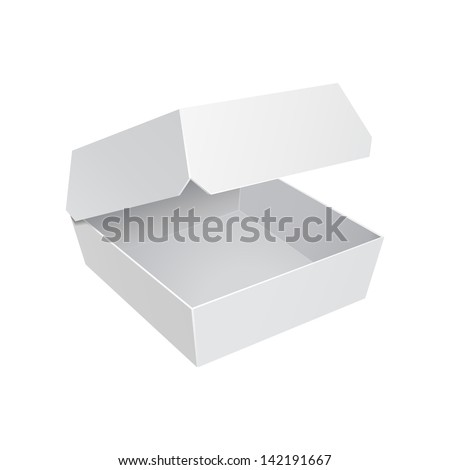 White Fast Food Carton Plastic Container For Burger Sandwich. Ready For Your Design. Product Packing Vector EPS10 - stock vector