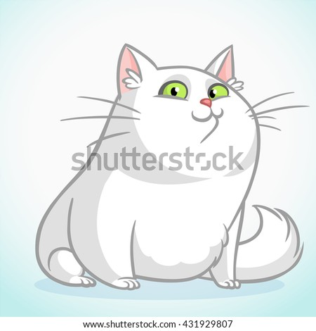 White fat cat with green eyes sitting. Vector cartoon cat illustration - stock vector