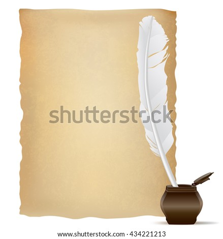 white feather pen and old papyrus. vector illustration - stock vector