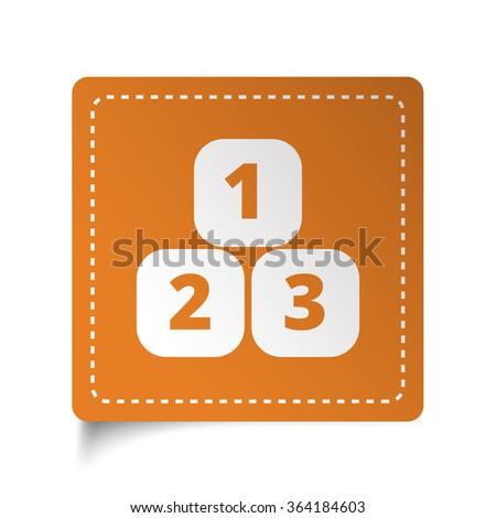 White flat 123 Blocks icon on orange sticker - stock vector