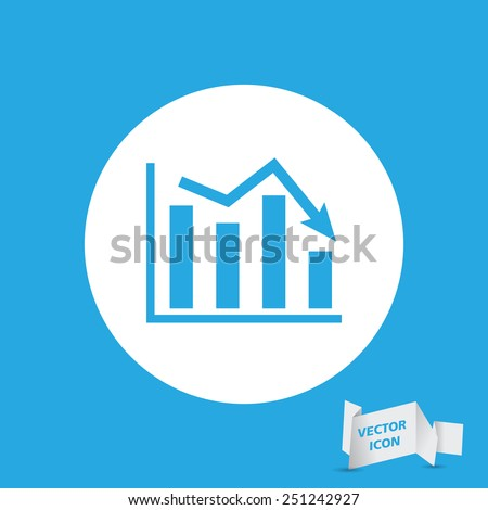 white flat icon of graph going down - stock vector