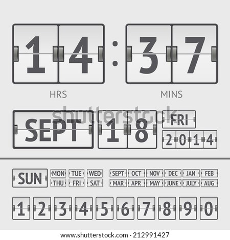 White flip scoreboard digital timer with date and time of the week - stock vector