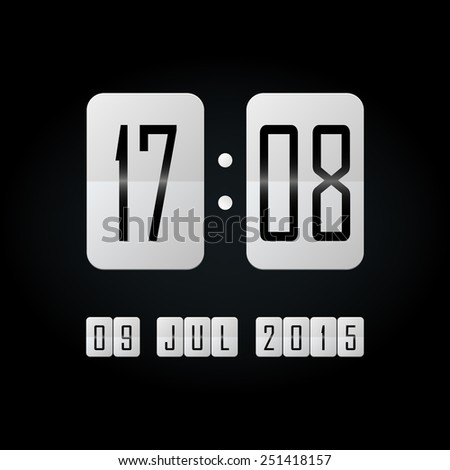 White flipping clock with date on black background - stock vector