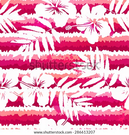 White flowers and grunge pink stripes vector seamless pattern - stock vector