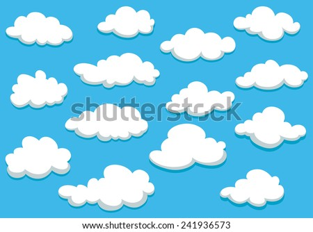 White fluffy clouds on spring blue sky in cartoon style for background or wallpaper design - stock vector