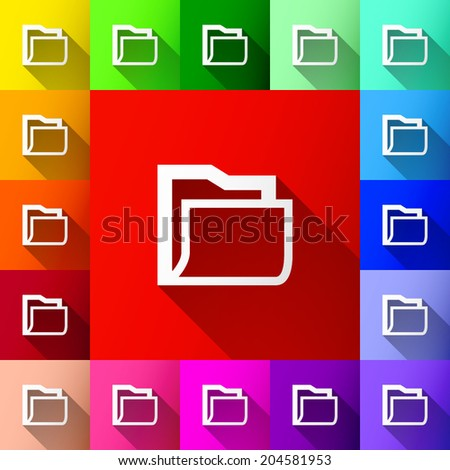 white folder with shadow icon on colorful background set (vector) - stock vector