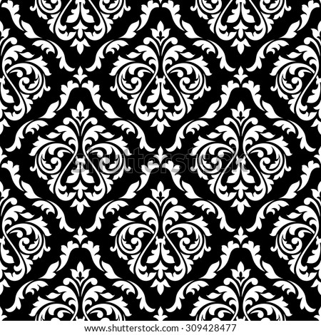 White foliage damask seamless pattern with victorian leaf scrolls, decorated flower buds on black background for luxury wallpaper or interior accessories design - stock vector