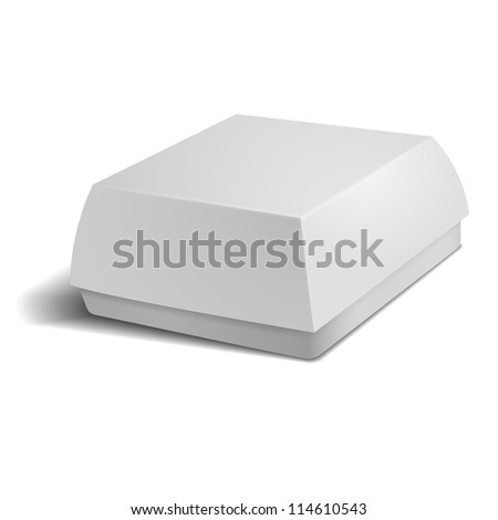 White food box, packaging for hamburger, lunch - stock vector