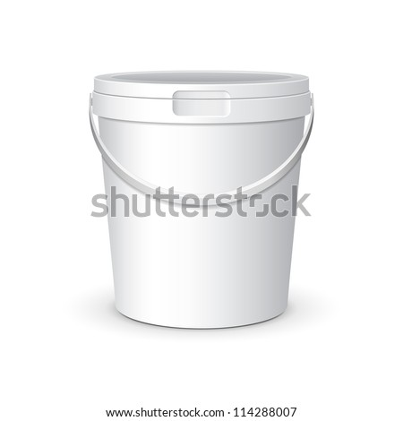 White Food Plastic Tub Bucket Container With Lid Cap For Dessert, Yogurt, Ice Cream, Sour Sream Or Snack. Ready For Your Design. Product Packing Vector EPS10 - stock vector
