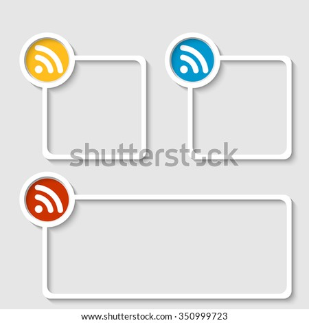 White frame for any text with feed icon - stock vector