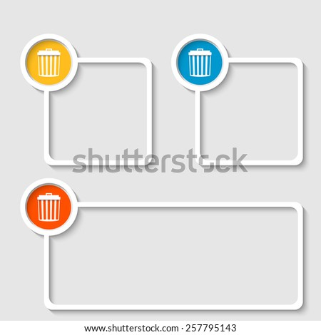 white frame for any text with trashcan - stock vector
