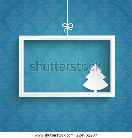 White frame on the blue background. Eps 10 vector file. - stock vector