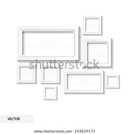 White frame with shadow - stock vector