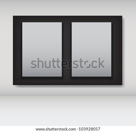 White frames in art gallery vector illustration - stock vector