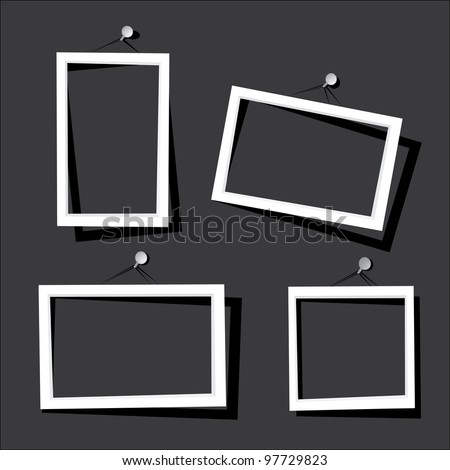 white frames on the black wall. vector illustration. - stock vector