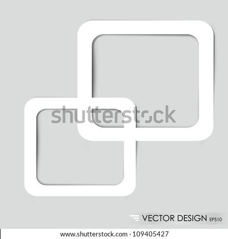 White frames on the gray wall. Vector illustration. - stock vector
