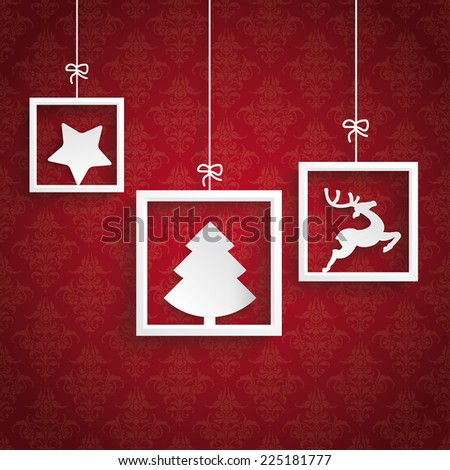 White frames on the red background. Eps 10 vector file. - stock vector