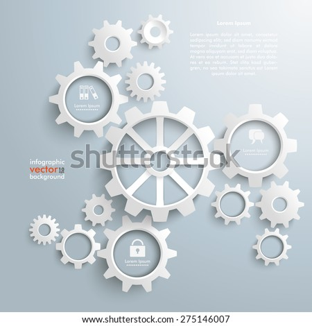White gears with centre on the gray background. Eps 10 vector file. - stock vector