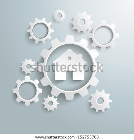 White gears with white house on the grey background. Eps 10 vector file. - stock vector