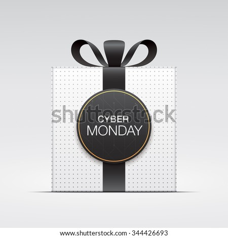 "White gift box, with ""Cyber monday"" tag. - stock vector"