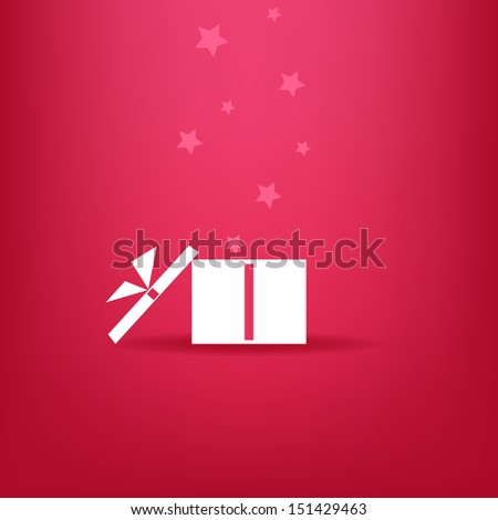 White gift box with stars on red background. Vector version. - stock vector