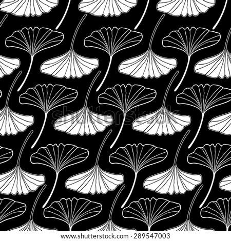 white gingko leaf sketch doodle set 2 pattern seamless on black background - stock vector