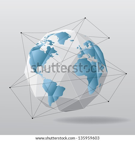 White globe geometrical background with world map - stock vector