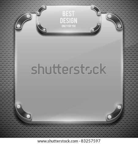 White glossy plate on metal grid(vector illustration) - stock vector