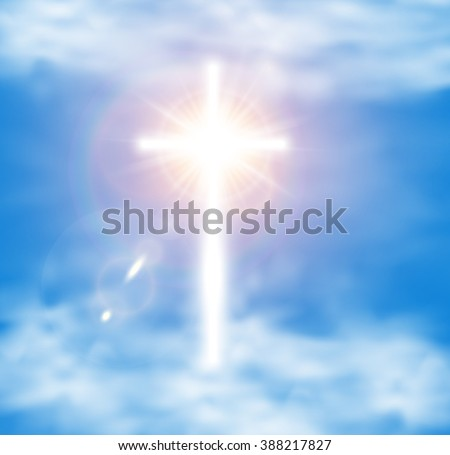White Glow Cross with Flare in Sky Cloud. Holy Glory Easter Shine Background. Christian Symbol Light Radiance Ray. Paradise hope concept - stock vector