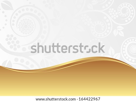 white gold floral background - stock vector