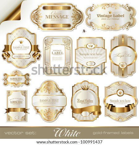 white gold-framed labels - stock vector
