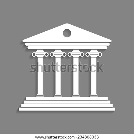 white greek colonnade isolated on dark grey background. concept of lawyer, justice palace, judge, monumental facade and courtroom. trendy modern logo branding design vector illustration - stock vector