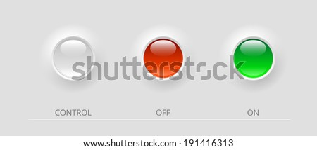 white, green and red glossy control buttons, vector illustration, eps 10 with transparency - stock vector