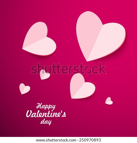 White Heart Paper Sticker With Shadow Valentine's day vector illustration Postcard - stock vector