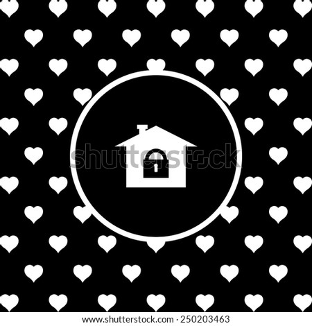 White hearts on a black background, white circle. House, access is closed, locked,  vector illustration, EPS 10 - stock vector