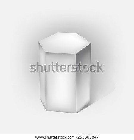 white hexagonal prism on white - stock vector