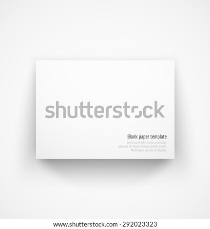 White horizontal paper template mock-up with drop shadow. Vector illustration - stock vector