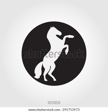 White horse silhouette in a black circle on a white background, the logo for designers, artists, etc. - stock vector