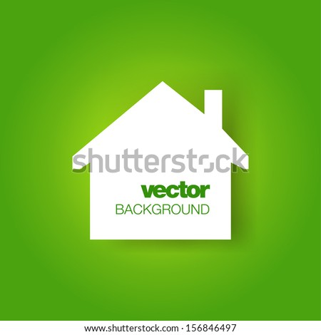 White house on green background. Vector illustration with place for text. Icon. - stock vector