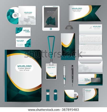White identity template with blue origami elements. Vector company style for brandbook guideline and Pens mugs CDs books business cards letterhead flag Card Portfolio employees Tablet - stock vector