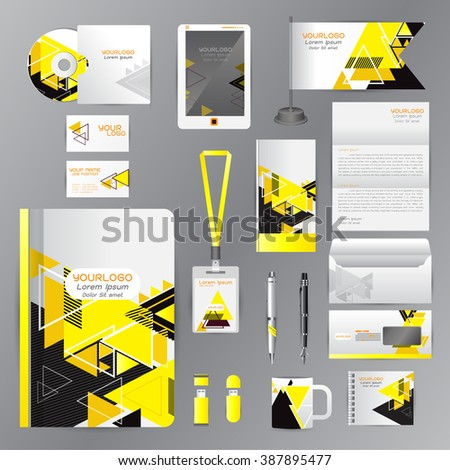 White identity template with Yellow origami elements. Vector company style for brandbook guideline and Pens mugs CDs books business cards letterhead flag Card Portfolio employees Tablet  - stock vector