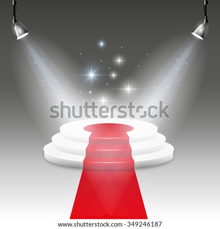 White Illuminated stage podium with red carpet road. Vector illustration. - stock vector