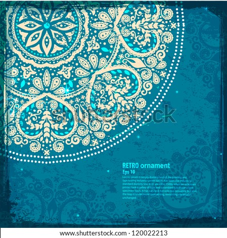 White Indian Floral ornament - stock vector