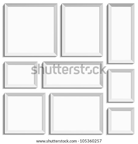 White isolated empty frames in international paper size in vector format - stock vector